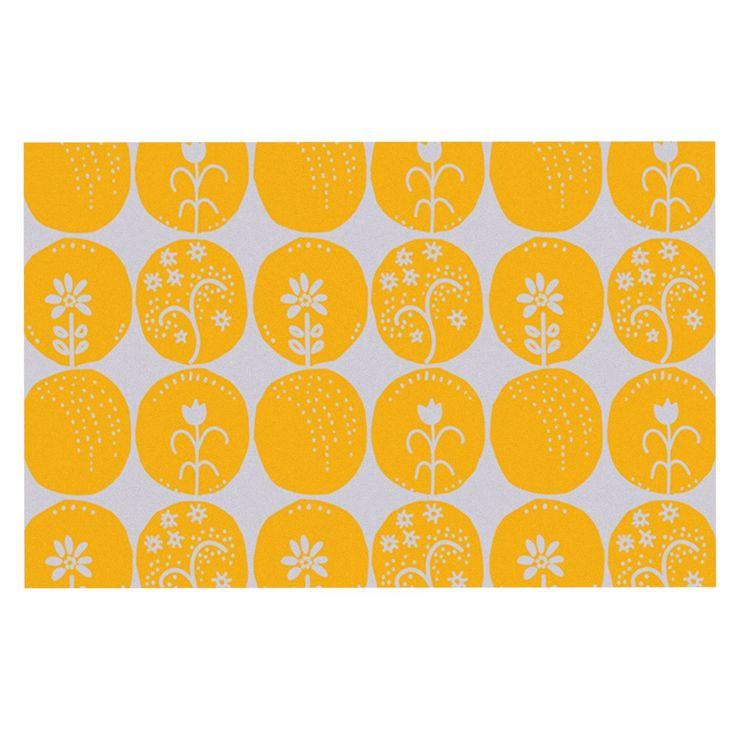 "Anneline Sophia ""Dotty Papercut Yellow"" Circles Gray Decorative Door Mat"
