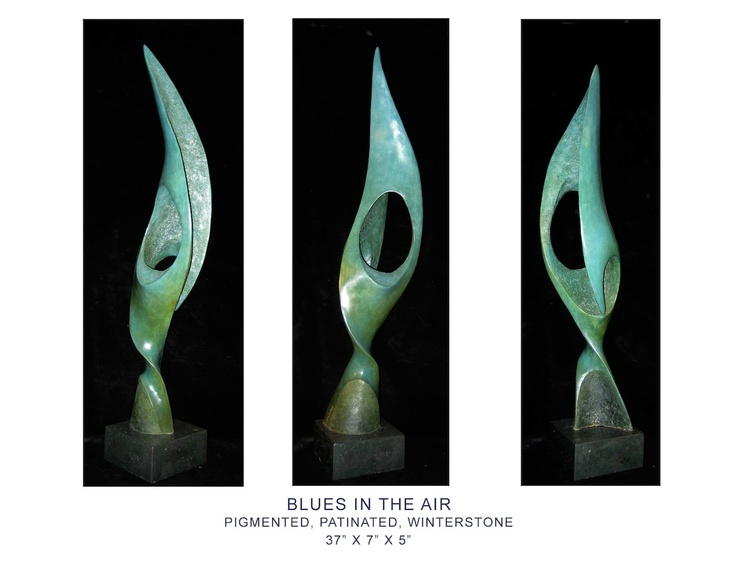 "Lorne Winters, Blues in the air, Pigmented, patinated, winterstone, 37"" x 7"" 5"" www.musegallery.ca"