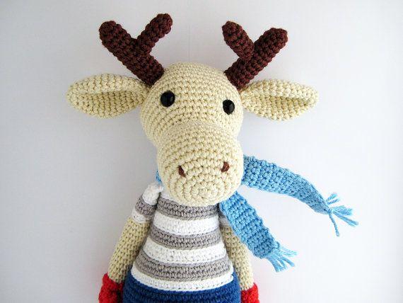 Reindeer Crochet Toy PATTERN by mojeamigurumi on Etsy