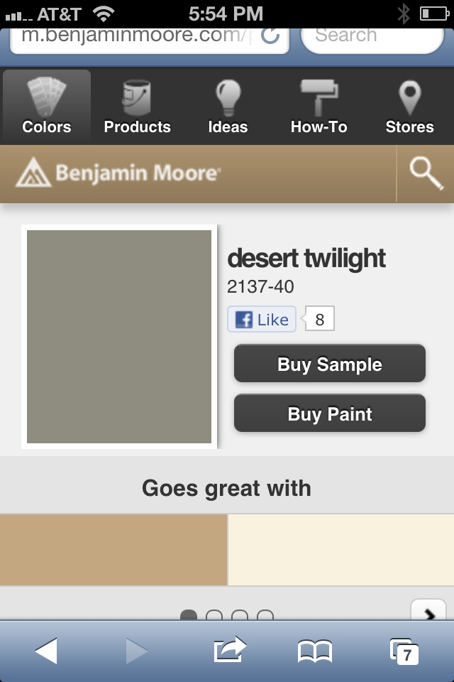 Desert twilight - Benjamin Moore- compliment color to Moonshine for the tray ceiling