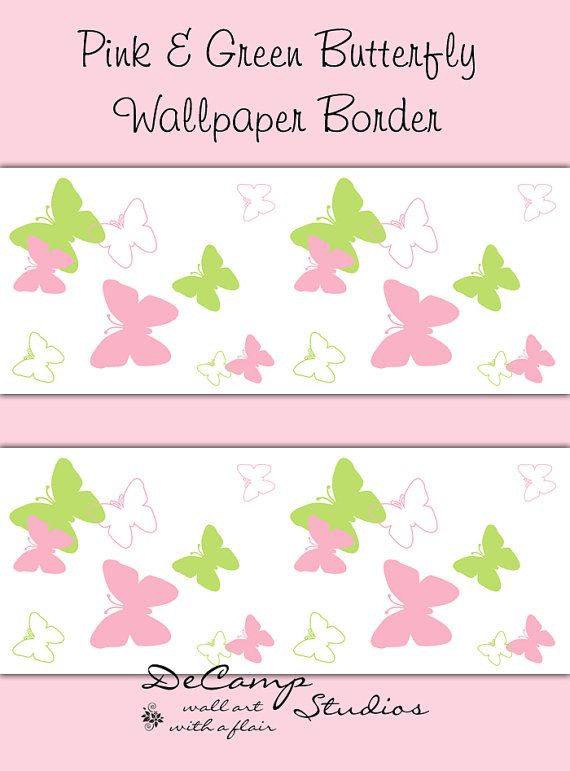 Pink And Green Butterfly Wallpaper Border Wall Art Decals For Baby Girl  Nursery And Childrenu0027s Bedroom Decor.