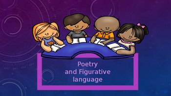 Common Core AlignedThis colorful and fun powerpoint includes oodles of practice and information for poetry and figurative language. Vocabulary and definitions: poetry, free verse, meter, rhyme, stanza, line breaks, figurative language, metaphor, alliteration, hyperbole, idiom, personification, onomatopoeia, and simile.Included:`History of Poetry`Difference between prose and free verse chart`Some famous poets and their poems(Shel Silverstein, Walt Whitman, Maya Angelou just to name a…