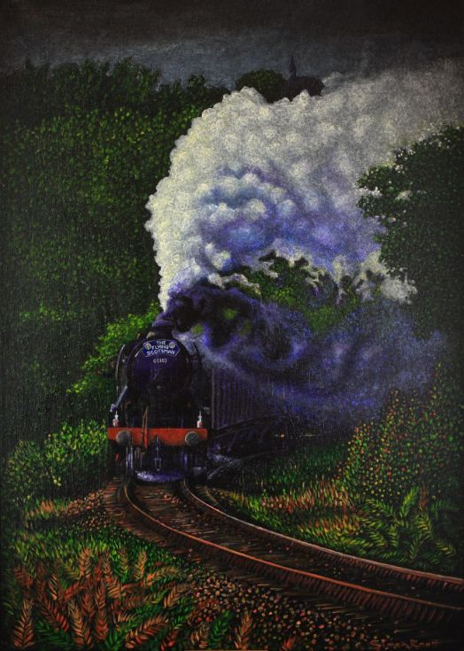 Buy Flying Scotsman Train Steam, Acrylic painting by Simon Mark Knott on Artfinder. Discover thousands of other original paintings, prints, sculptures and photography from independent artists.