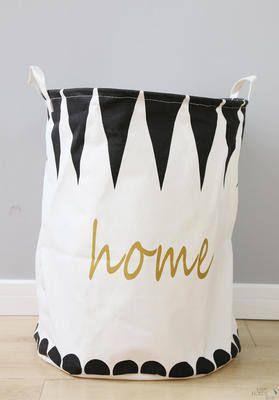 Triangle geometry pattern fabric laundry basket, boys' room toy organizer, Scandinavian style home decor
