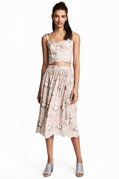 Falda bordada - Light pink/Floral - MUJER | H&M ES 1