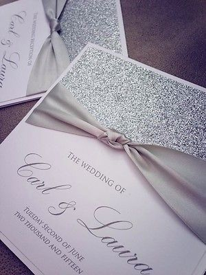 Handcrafted Wedding Invitations Choice Of Colours Glitter Silver White Christmas