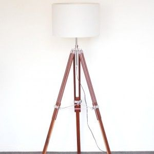 A$199 ultimodesign brown timber tripod white lampshade
