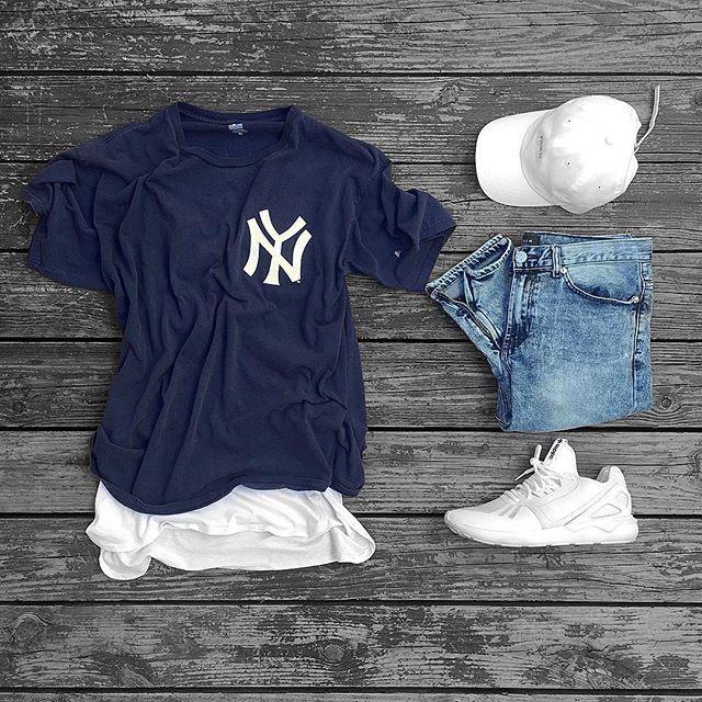 Camiseta New York Azul Jeans  Boné e Tênis Off-White