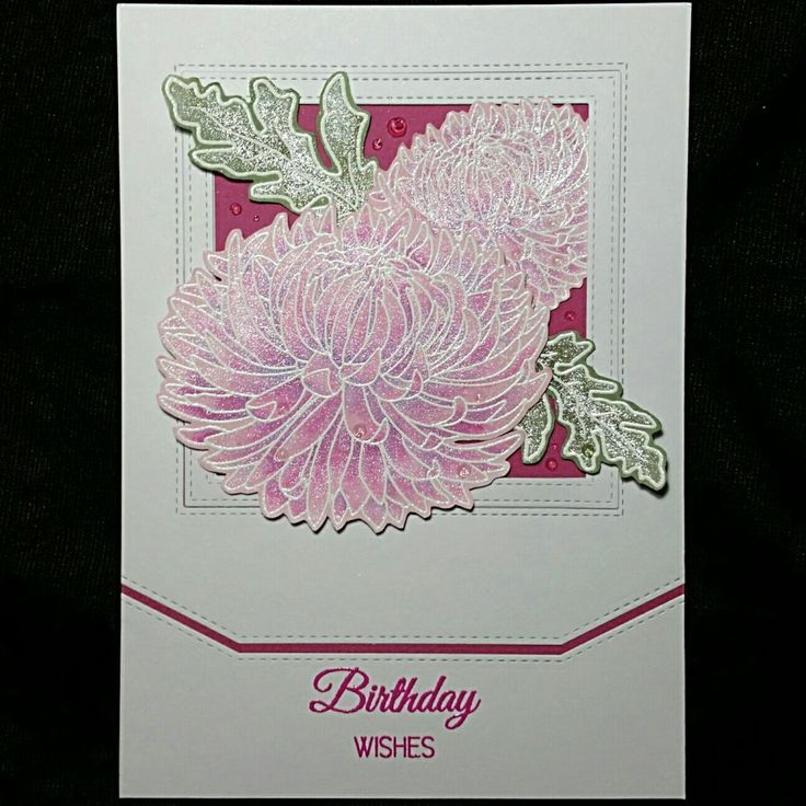 Uniko Pure Florals Chrysanthemum Clear Stamp Set,  My Favorite Things STITCHED BASIC EDGES 2,