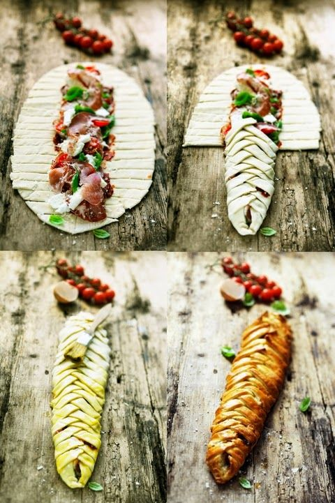 Braided pizza with three tomatoes, two cheese and coppa.