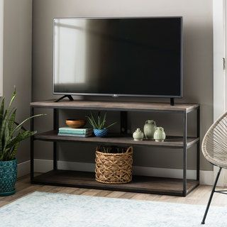 featuring a black sand metal frame supporting three wood shelves this tv stand adds rustic charm - Rustic Furniture Outlet