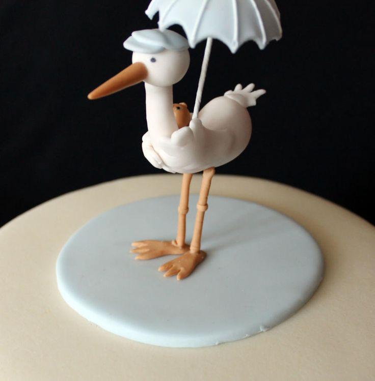 Stork Christening Cake Topper