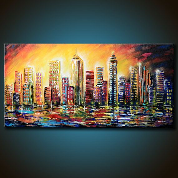 48x24 ORIGINAL City Abstract Painting Colorful von FariasFineArt