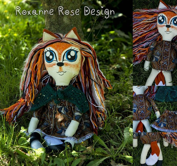 """Fox humanoid fabric art doll.   Handpainted face.   18 Likes, 7 Comments - roxanne rose (@roxanne_rose_design) on Instagram: """"Fox girl - love how she turned out!  This beautiful girl is available on facebook from Sunday…"""""""