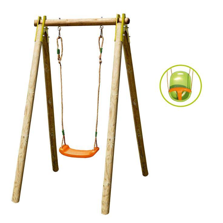 Ce portique en bois est solide et évolutif. Il accompagne l'enfant pendant plusieurs années en s'adaptant à ses besoins. Dès 9 mois, l'enfant est assis dans le siège en plastique avec dossier, ceinture et entrejambe. Il se balance, rassuré de se sentir maintenu. Et puis, lorsqu'il grandit, le siège-bébé est remplacé pour la balançoire classique incluse. Ce portique trouve sa place même dans les petits jardins : sa taille est peu encombrante. Le produit doit être fixé au sol co...