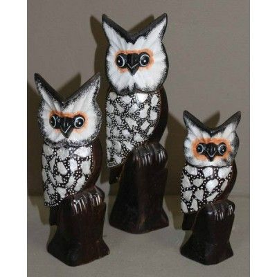 Owl on a branch - Set of 3 (25/20/15 cm H)