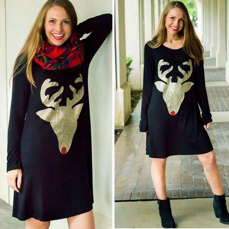 Women Christmas Deer Print Dress Mini Short O Neck Autumn Dinner Party Dresses   #WomenMiniChina #Festive