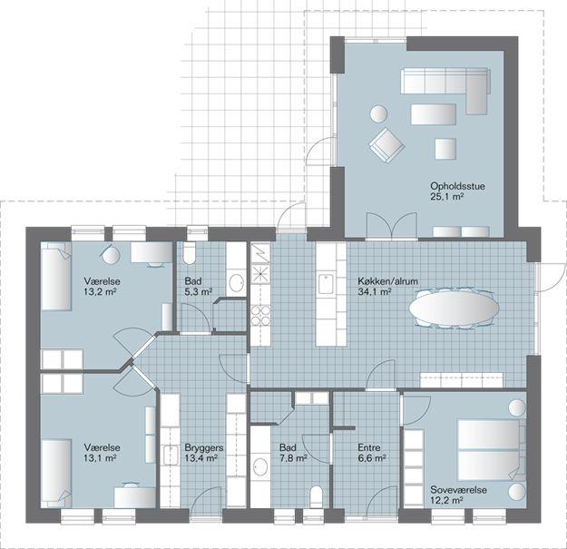 EVN 158 eurodan-huse. Tv-stue v/barnerom.