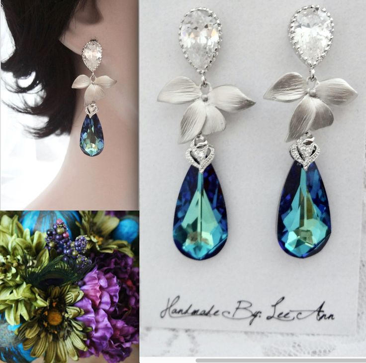 Bermuda blue crystal earrings,Swarovski Bermuda blue crystals,Sterling posts,Peacock wedding,   Destination wedding earrings,Orchid earrings by QueenMeJewelryLLC on Etsy https://www.etsy.com/listing/223548754/bermuda-blue-crystal-earringsswarovski