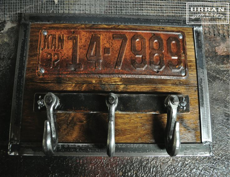 Image of License Plate & Hook Coat Rack