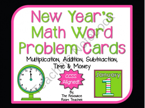 New Year's Themed Math Word Problem Cards (CCSS Aligned!) product from The-Resource-Room-Teacher on TeachersNotebook.com