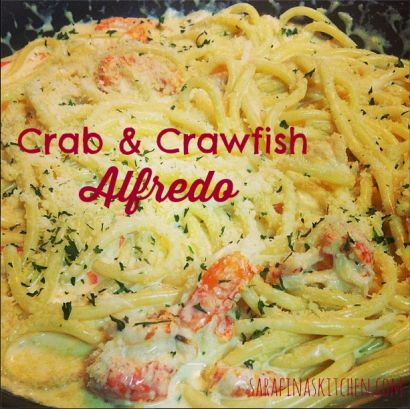 Homemade Alfredo sauce with delicious crabmeat and crawfish tossed in.