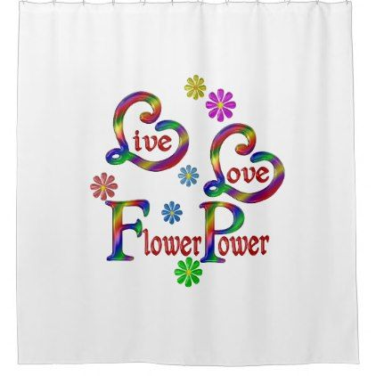 Live Love Flower Power Shower Curtain - shower curtains home decor custom idea personalize bathroom