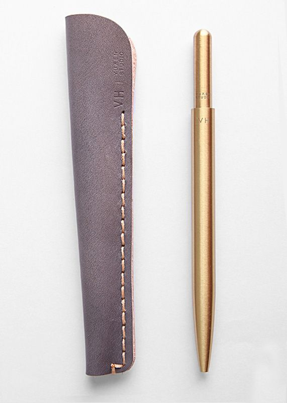 VH – Brass ballpoint pen. All-brass twist mechanism with leather holder. #chinadesign