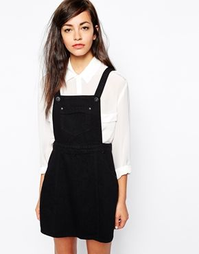i love this denim pinafore dress, perfect for layering