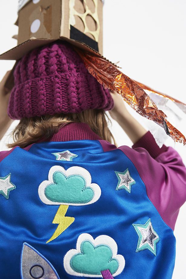 Appliqued bomber jacket £124, hat £51 both at Stella McCartney Kids for fall/winter 2015
