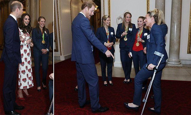 Prince Harry flirts with Team GB hockey team at Palace reception