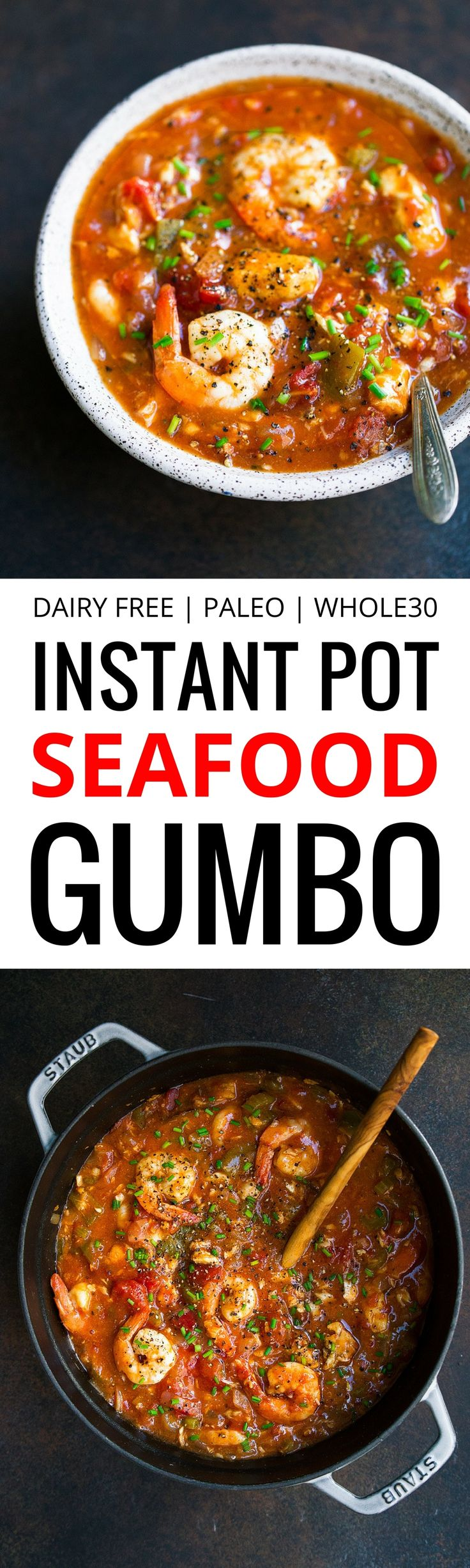 Whole30 Instant Pot Seafood Gumbo. Serve with a scoop of cauliflower rice.