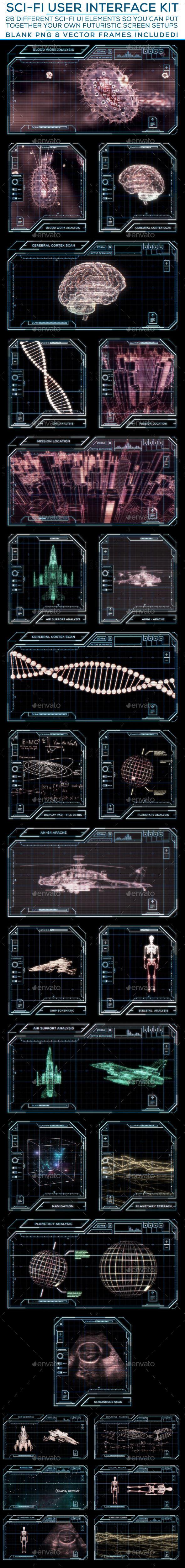 Sci-Fi User Interface Kit Template PSD #design #ui Download: http://graphicriver.net/item/scifi-user-interface-kit/12408671?ref=ksioks