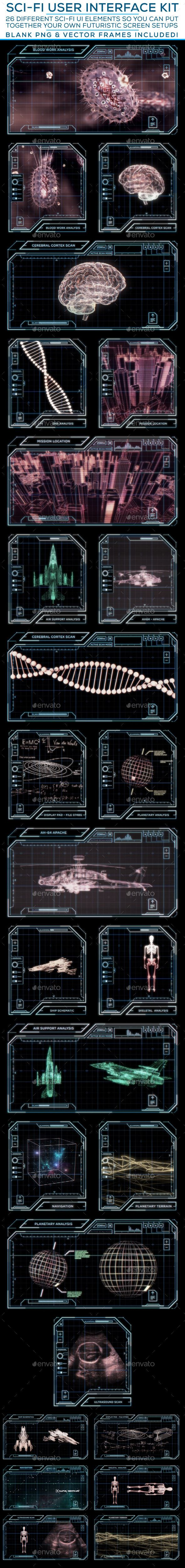 Sci-Fi User Interface Kit Template PSD #design #ui Download: http://graphicriver.net/item/scifi-user-interface-kit/12408671?ref=ksioks