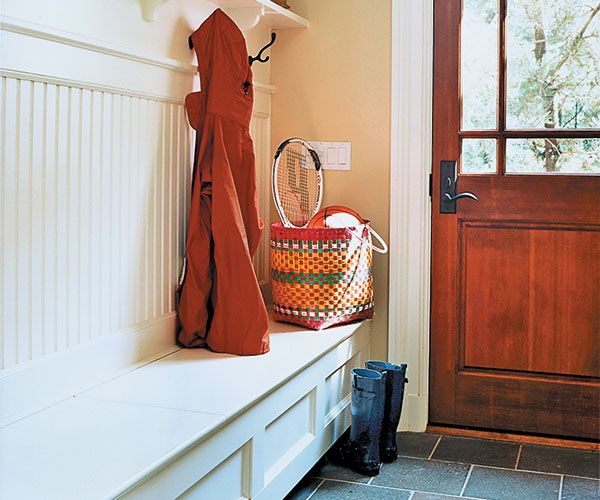 Is your mudroom a mess magnet? A bench like this has a shelf up top, hooks in the middle, and space at the bottom. You can slide shoes underneath it so that they don't take over the floor. For extra room, look for a bench with a seat that lifts, revealing a storage area.