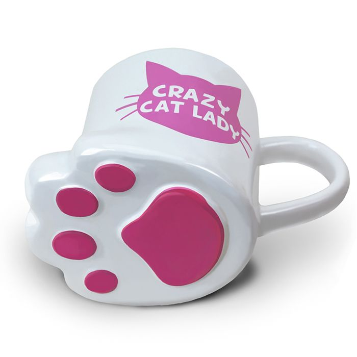 Our Totally Pawesome Crazy Cat Lady Mug, graced with purrfectly pink paw pads, will