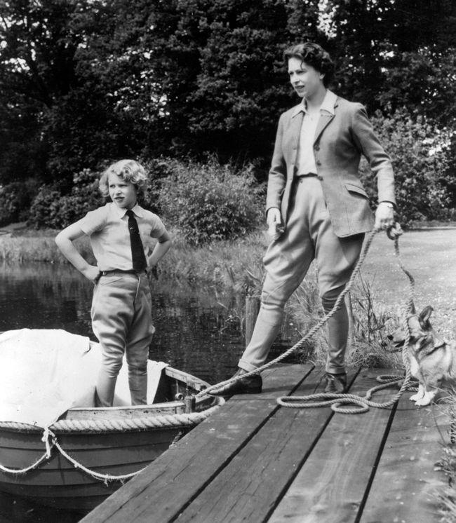 Queen Elizabeth II and her daughter Princess Anne at Frogmore, Windsor Castle.