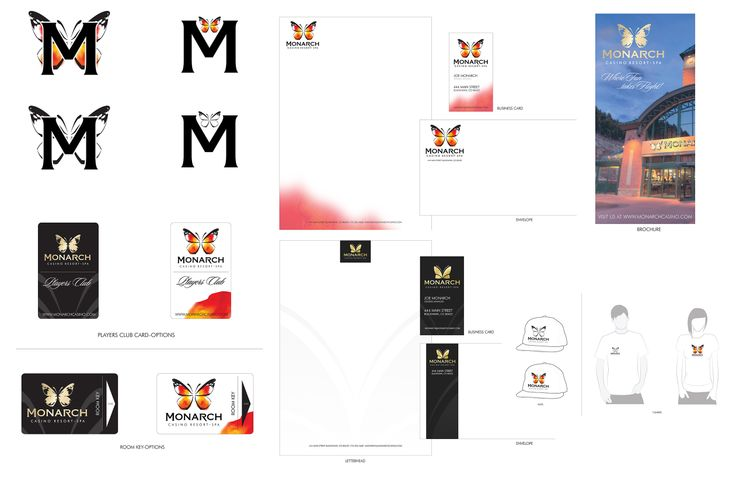 Brand Applications for Monarch Casino - Resort - Spa.  Logo designed by Kathy Morton Stanion.
