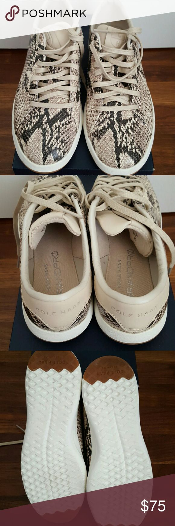 Cole Haan Grandpro Tennis Sneaker in Roccia Snake Snake print leather. Rubber pods in heel and forfoot for traction. I only used these sneakers once. They come in excellent condition. Cole Haan Shoes Sneakers