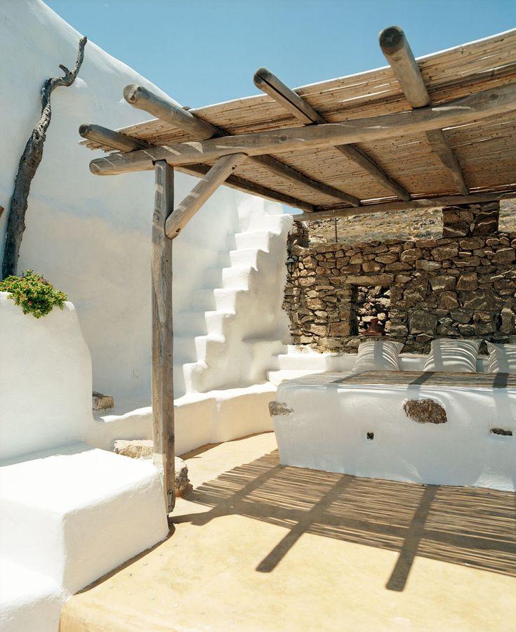 Magisches Mykonos: Simpel und trotzdem eine atemberaubende Terrasseninspiration.