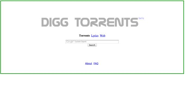 Digg Torrents is a third-party search engine that uses Google to search for torrents and song lyrics. The search results also display Google AdSense ads.