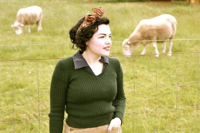Land Girls ribbed green sweater. Cute.