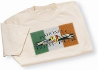 The newest way to show off your Irish coat of arms! This Irish t-shirt features your name and authentic Irish coat of arms made into an original design pub logo. 100% white cotton tee. Choose from over 900 available family coat of arms. Sizes S, M, L, XL and XXL.