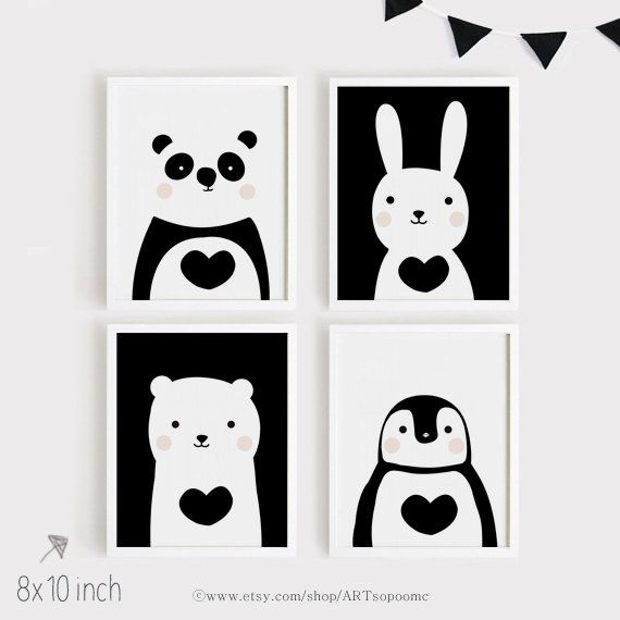 Printables Nursery Art Set of 4 Cute animals art print download Poster Panda Bunny Bear Penguin for Baby Kids Child room Black and white