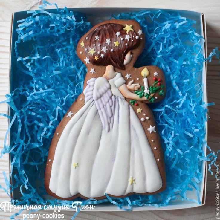 Купить Имбирный пряник  Christmas angel by Ярмарка Мастеров; Ангел со свечой - оранжевый, имбирные пряники, имбирные пряники на заказ