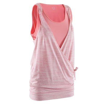 Canotte Abbigliamento - Canotta donna yoga rosa-bianco DOMYOS - Parte alta