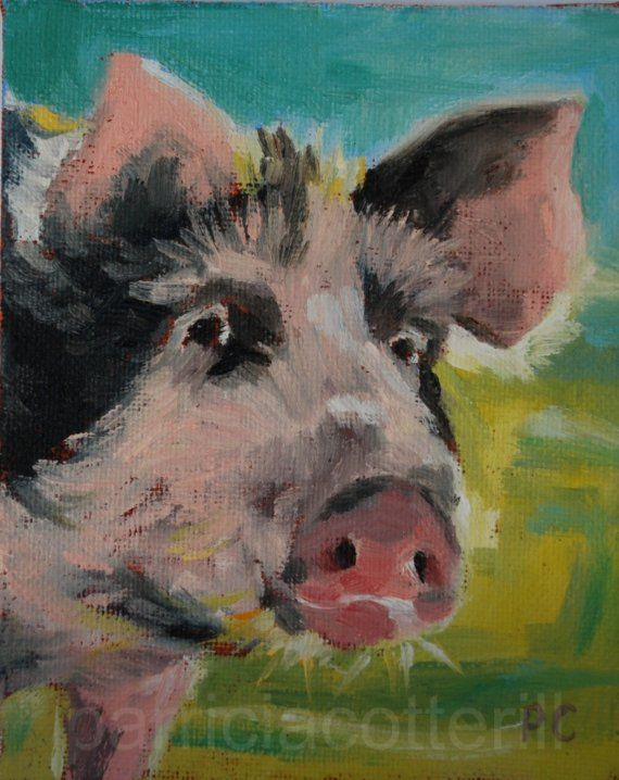Pig oil painting by PCotterill on Etsy