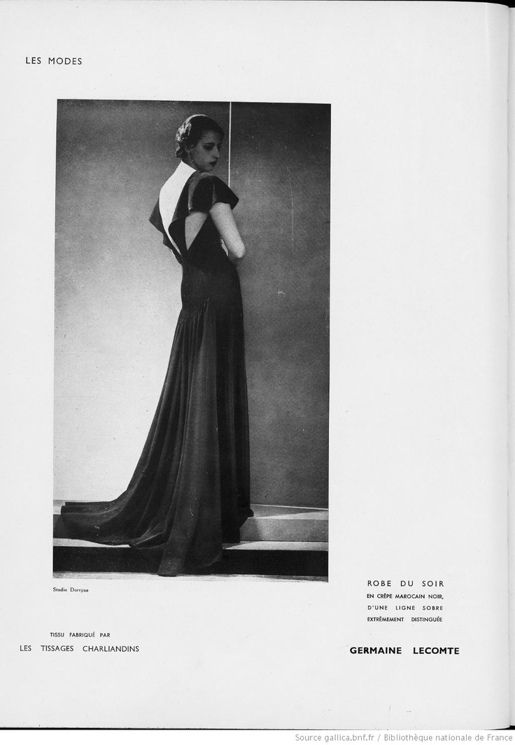Modes (Paris) 1935  Robe du Soir. Germaine Lecomte.