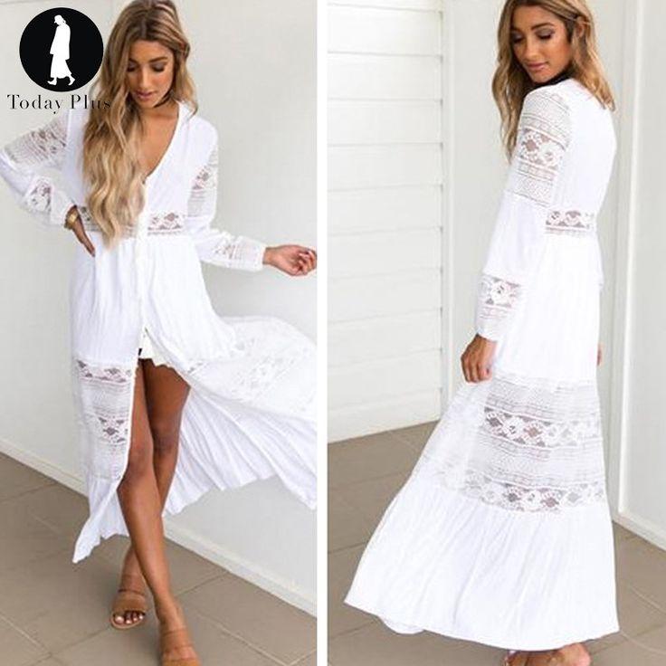 Сегодня плюс 2017 модные женские туфли летние платья Богемия Макси Бич кружева v образным вырезом с длинным рукавом однотонные Белые Повседневные Платье для вечеринки купить на AliExpress