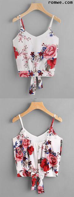 Floral Print Split Bow Back Cami Top